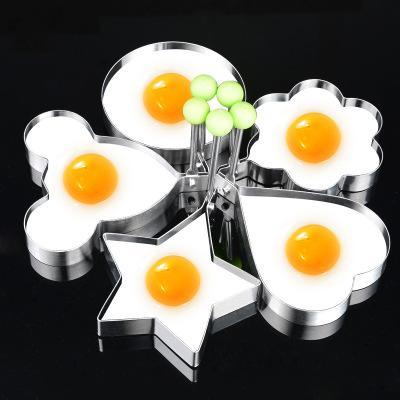 Oeuf Crêpe Moule DIY Mignon En Forme de Moule de Qualité Alimentaire En Acier Inoxydable Oeuf Frit Bague Moules Creative Cuisson Petit Déjeuner Cuisine Outils YFA364