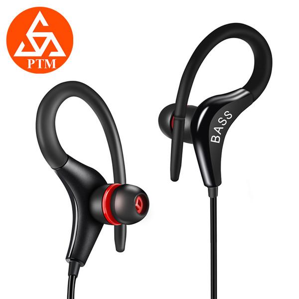 PTM S13 3.5mm Ear Hook Sport Auriculares Bass Bass Auriculares Auriculares coloridos Correr auriculares para teléfono PC MP3 MP4 Música estéreo