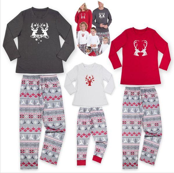2bdbc08903f0 INS xmas elk Family christmas pajamas set Christmas snowflake full Print  family matching outfits Fashion Patchwork