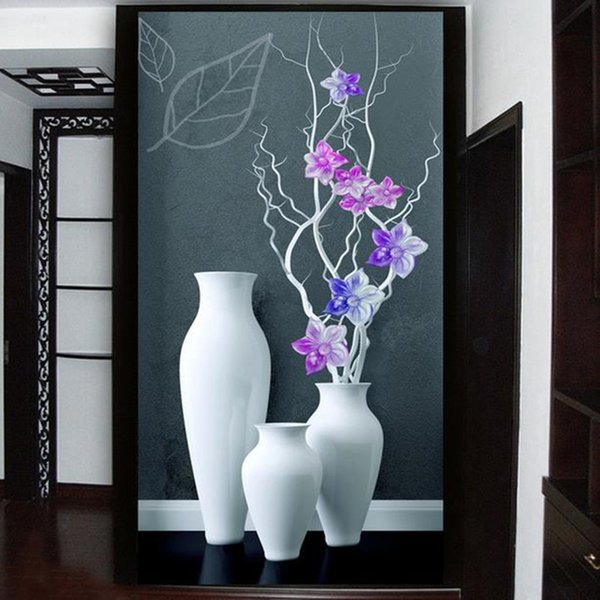 Custom 3D Photo Wallpaper Modern Fashion Simple Vase Flower Living Room Bedroom Entrance Hallway Backdrop Door Decor Wall Papers