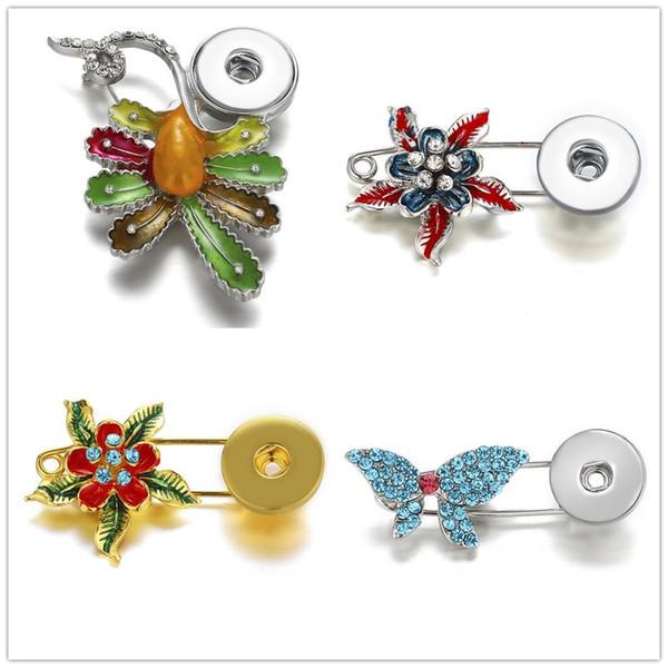 Noosa Brocken Pins Snaps Schmuck Crystal Pearl Fower Broschen Druckknöpfe für 18mm Druckknopf Halskette Armband Schmuck Zubehör