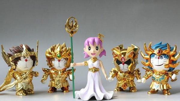 Doraemon Nobita Nobi Saint Seiya Athena LEO Aries sagittarius Anime Action Figure PVC New Collection figures toys Collection