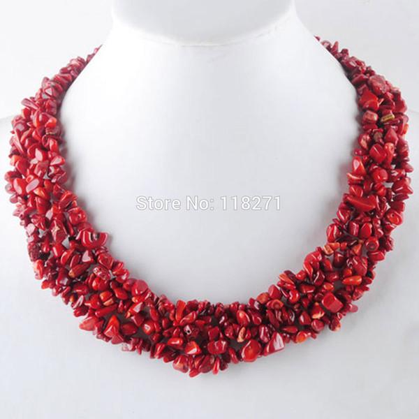 Бесплатная доставка красный коралловый чип Gem бусины плетение ожерелье 17 1/2 дюймов PH3074