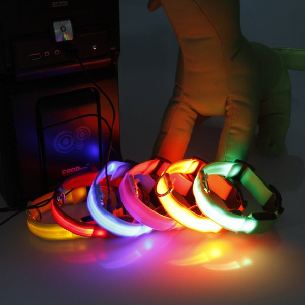 LED Light Flashing dog pet collar Outdoor Luminous Night Safety Nylon Colorful necklace Leash Glow in the Dark With USB Charge Charging