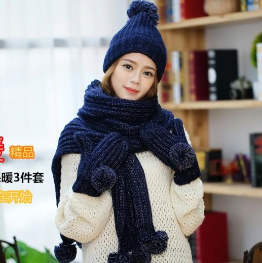 Hat scarf glove three pieces of female qiu dong tian han version of the sweet ball warm knitted kit