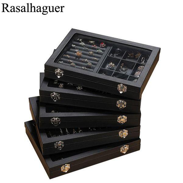 Moda de Nova Tamanho 100% PU Leather Jewelry Organizer Jóias Display Brinco Titular Anel Caixa de Colar de Casos de Jóias Caixa de Presente Atacado