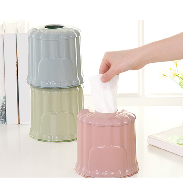 Wipe container Car Home Roll Paper Box Holder Plastic Round Tissue Container Towel Napkin Tissue Storage for Home Office Desktop
