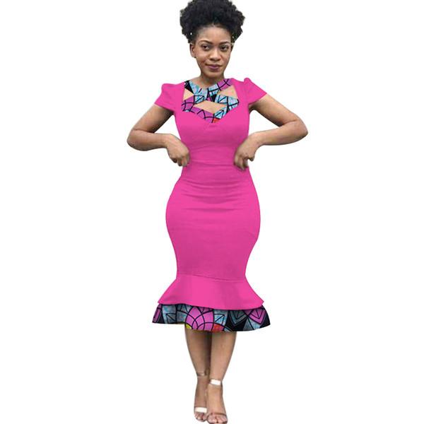 Moda Dashiki Africano Mulheres Retalhos Vestido Em Linha Reta Roupas Bazin Rihce Tradicional Africano Vestido de Cera de Impressão para As Mulheres WY3231