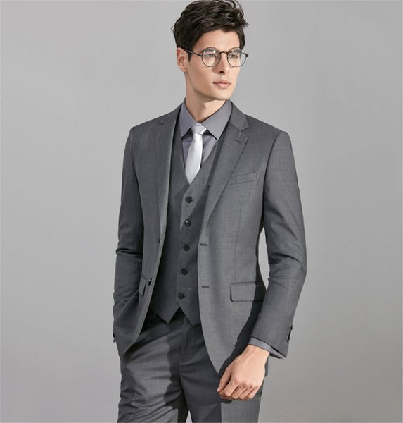 2018 Custom Made Grey Side Vent Slim Fit Best Man Groom Suit Wedding Suit For Man Bridegroom Three Pieces Prom Tuxedo