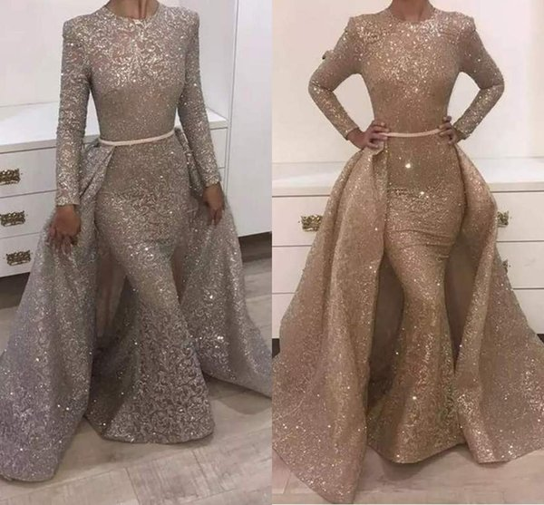 best selling 2018 Mermaid Evening Dresses Jewel Long Sleeve Unique Design Evening Gowns Lace With Sequins Beads Crystals Formal Evening Dresses