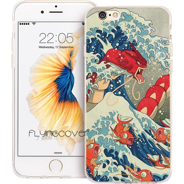 Coque Anime Great Wave Clear Soft TPU Silicone Phone Cover for iPhone X 7 8 Plus 5S 5 SE 6 6S Plus 5C 4S 4 iPod Touch 6 5 Cases.