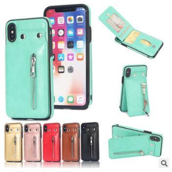 PU Flip Leather Zipper Wallet Cell Phone Case Multi Card Holders Shells Cover For iphone X 8 7 6 plus Samsung S8 S9 Plus