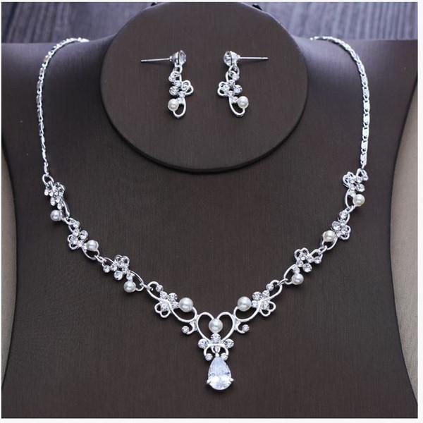 Bridal Necklace Earrings Two Sets Korean Simple Diamond Wedding