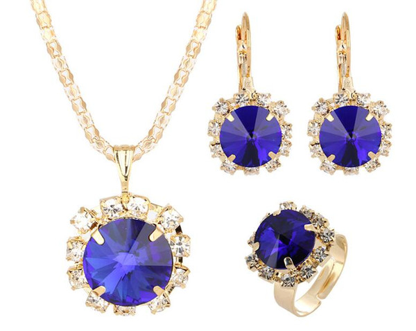 2019 Hot sales Bridal Jewelry Set fashion Gold circular Luxurious crystal gemstone Earrings Ring Pendant Necklace 7 color selection