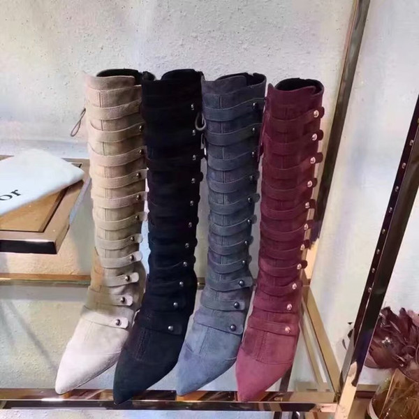 Suede Leather Knee High Boots Belt Button European Long Shoes Chunky Heel Cross Lace up Women Shoes Luxury New Boots High Heeled Dress Boots