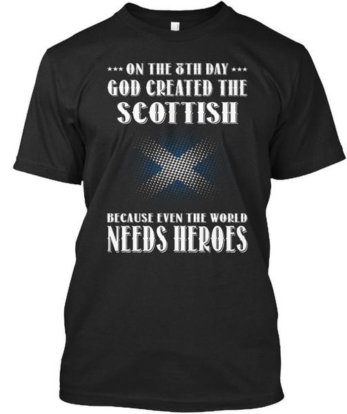Dio ha creato lo scozzese per l'ottavo giorno perché anche World ha bisogno di t-shirt Élégant Tees Shirt Uomo Man's disegnato manica corta girocollo in cotone 3XL