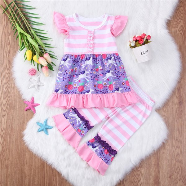 Baby unicorn floral printed outfits pink lotus leaf Striped Short Sleeve Top + Pants Two-piece set cute baby girl clothes
