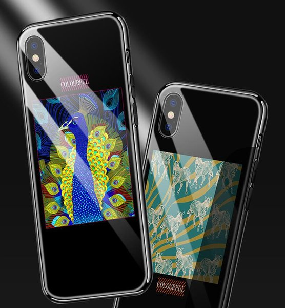 Blu-ray tempered glass case for iPhone 8 for iPhone X 6 6S 7 8 Plus high quality painted drop-proof glass case