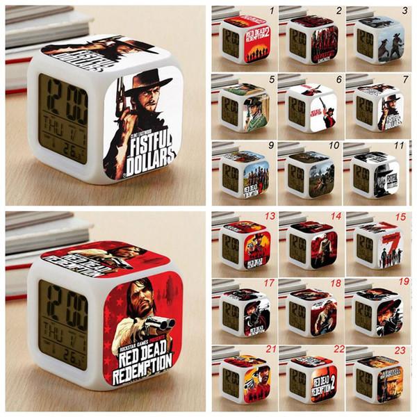 24 Styles Game Red Dead Redemption 2 Alarm Clock Multifunction Digital Desk Square Alarm Clock with LED Screen Desk Clock CCA10738 20pcs