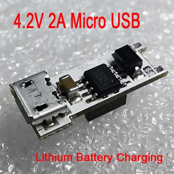 Freeshipping Mini 4.2V 2A Micro USB 18650 Carte de charge de batterie au lithium Module chargeur LED