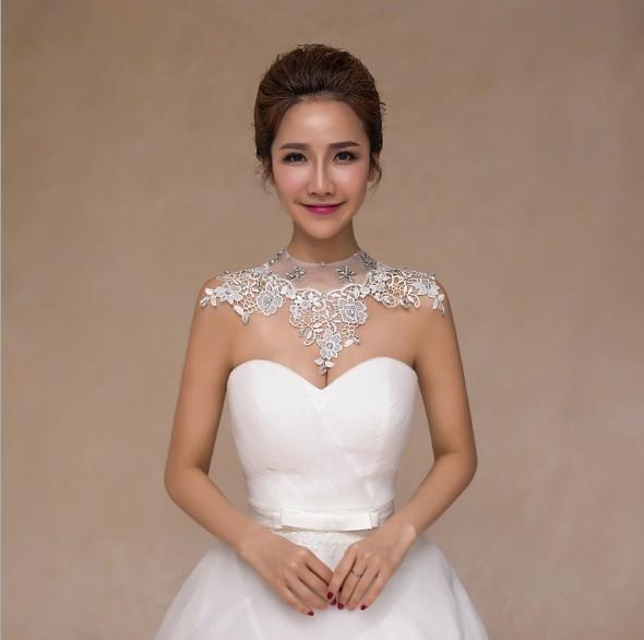 2018 Bride Lace Wedding Diamond Necklace Jewelry Chain Shoulder