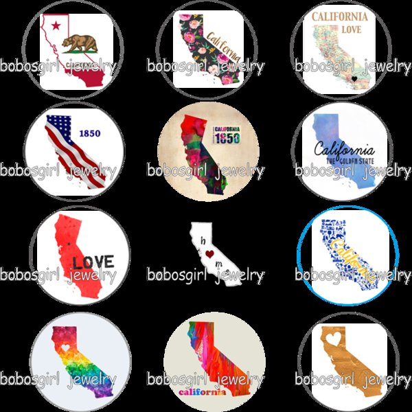 USA US states california home love glass Snap button Charm Popfor Snap Jewelry good quality picture pendant GS9773