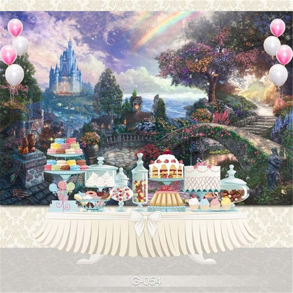 top popular Fantasy Fairyland Garden Scenic Photography Backdrops Rainbow Castle Trees Flowers Princess Girl Birthday Party Photo Booth Backgrounds 2019