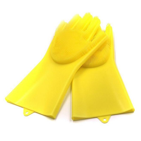 1 Pair Pack Magic Silicone Gloves with Wash Scrubber, Reusable Brush Heat Resistant Gloves Kitchen Tool for Cleaning, Pet Hair Care (Yellow)