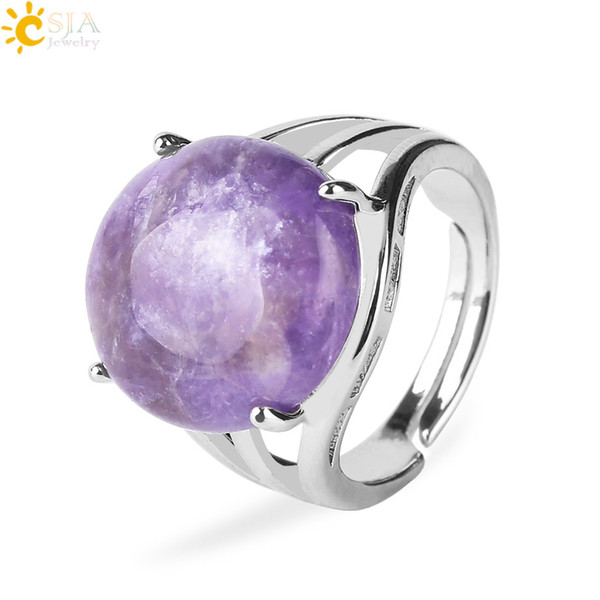 CSJA 19 Color Gems Ring for Women Single Natural Stone Round Bead Casual Real Crystal Quartz Silver Finger Rings Birthday Party Jewelry F476