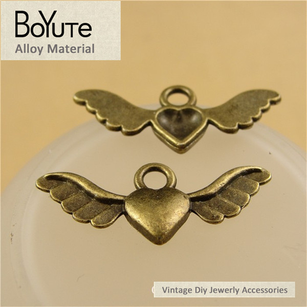 BoYuTe (100 Pieces/Lot) 28*11MM Antique Bronze Plated Angel Wings Charm Metal Angel Wings Charms Pendant Charms for Jewelry Making Diy