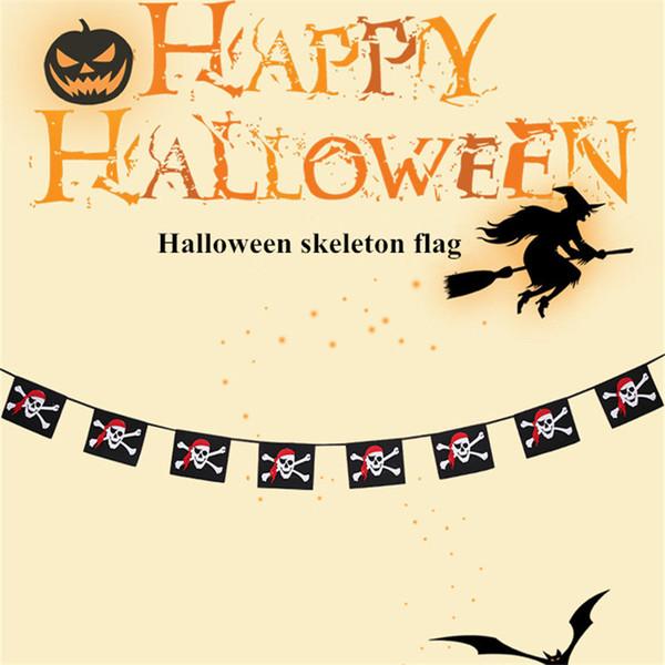 Halloween drapeau décoration accessoires couleur patch pirate et squelette modèle fantôme festival bar école ornement pendentif ornements