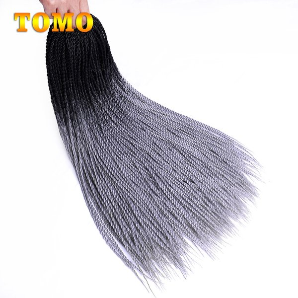 TOMO Senegalese Twist 24 inch long ombre Black Grey Braided Crochet Hair Kanekanlon Synthetic Braids Hair Extensions For Woman 30 Roots/Pack