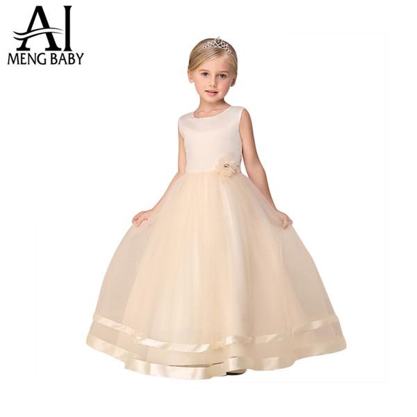 Compre Ai Meng Baby Girl Vestido De Boda Niños Ropa De Marca Vestidos Para Niñas Champagne Kids Vestido De Fiesta De Noche Largo Diseños Para