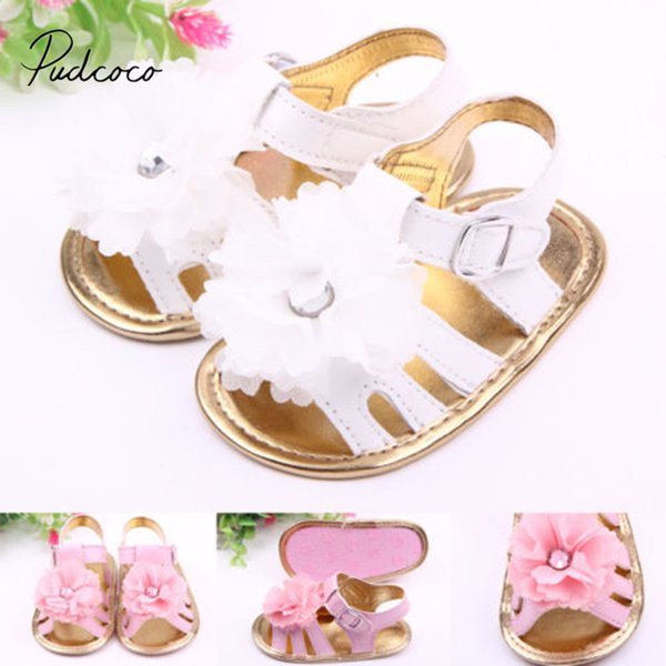 2018 Brand New Newborn Toddler Baby Girls Infants Summer Flower Sandals Crib Sole Shoes Prewalker Big Flower Baby Shoes 0-18M