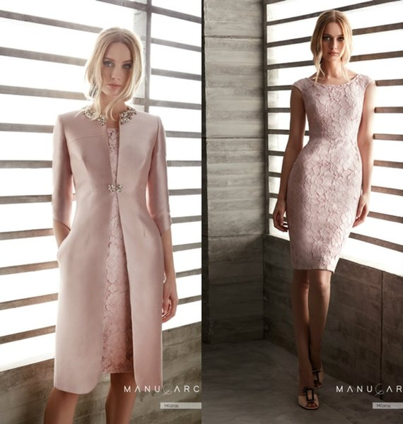 Pink Mother Of The Bride Dresses With Jacket Lace Jewel Neck Knee Length Long Sleeve Elegant Mother's Gowns Wedding Guest Dress Cocktail