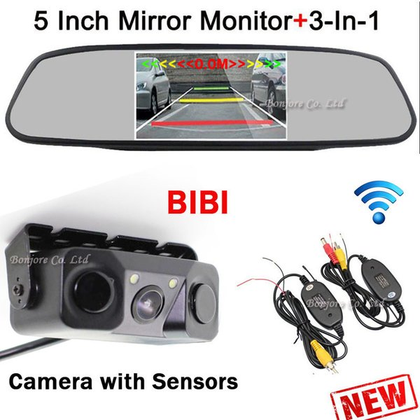 3 in 1 Wireless Car Parking sensors Rearview Camera Reverse + 5 inch Mirror Monitor Digital LCD Screen Display Parking System