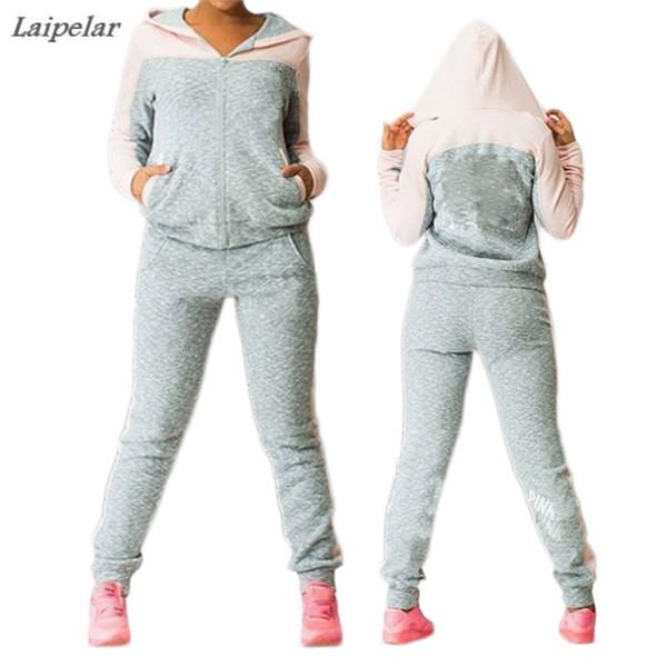 Hot Sale Sportsuit women Fashion casual fleece Hooded jacket tracksuit Patchwork sweat Pant Suit two piece clothing set Pink 4XL