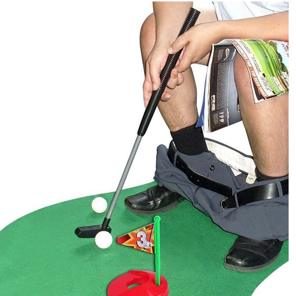 Toilet Golf Potty Putter Set Bathroom Game Mini Golf Putting Novelty Set Table Games Potty Golfing The Golfer's Gag Gift