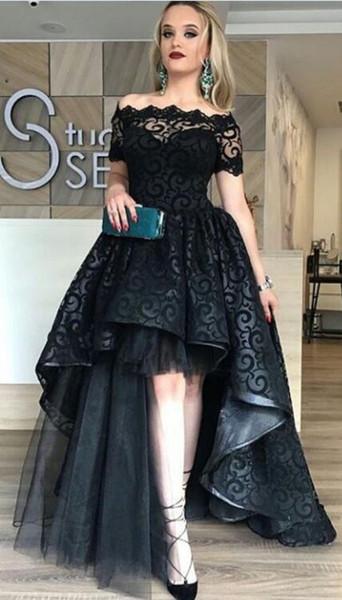 Acheter Robe De Mariée Gothique Noire Et Courte Avec Des épaules Courtes De 21397 Du Totallymodest Dhgatecom