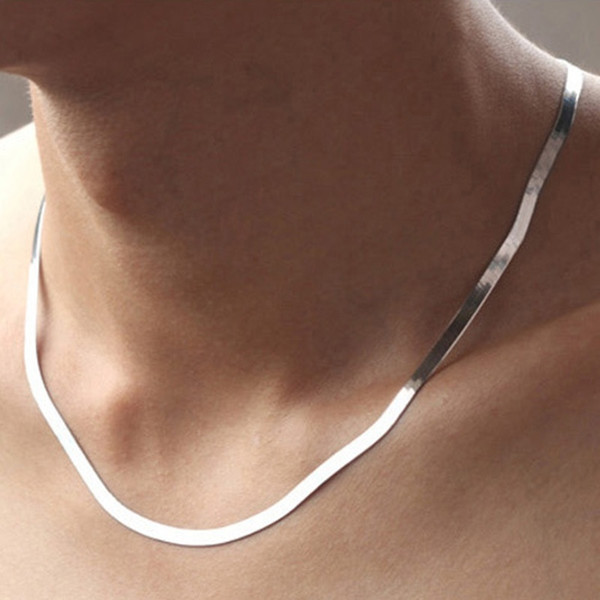 Cadena de serpiente de plata 925 Mujeres sexy Hombres Cadena Gargantilla Collar Accesorios Joyas (Color: Plata)