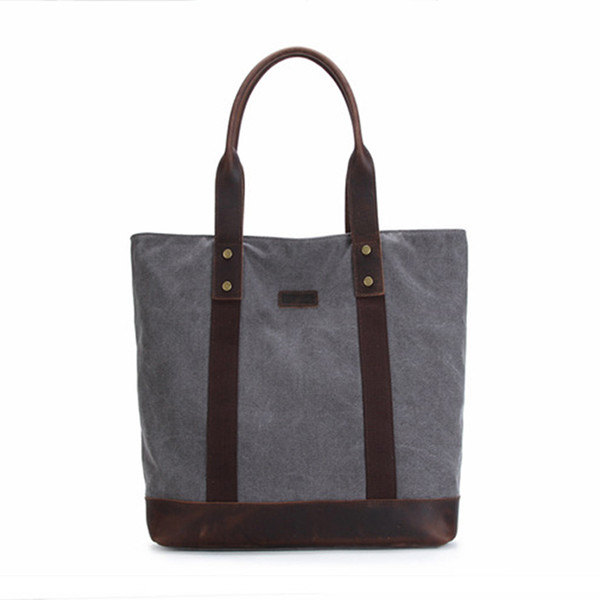 Hot Selling Unisex Cotton Hand Bags for Women and Men Vintage Canvas Horse Leather Shoulder Large Bag Grey Coffee bolsos mujer