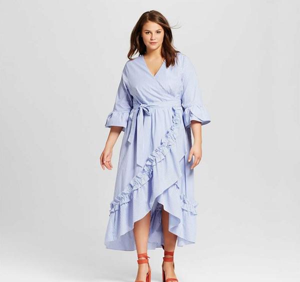2019 Elelong Wrap Dress Autumn 2018 Ruffle Maxi Dress V Neck Striped Shirt  5xl 6xl Large Plus Size Women Clothing From Maluokui, $38.19 | DHgate.Com