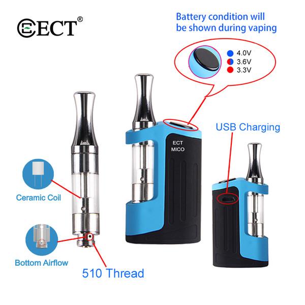 Authentique ECT Mico Starter Kit mini boîte Mod 500mah Vape batterie Avec 0.5ml 510 fil Céramique Bobine Atomiseur Vape Mod Cigarette électronique