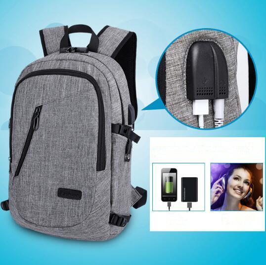 Laptop Diebstahlsicherer Rucksack Mit USB-Lade Kopfhörer Schnittstelle Schultasche Unisex Diebstahlsicherung Laptop Umhängetasche CCA9949