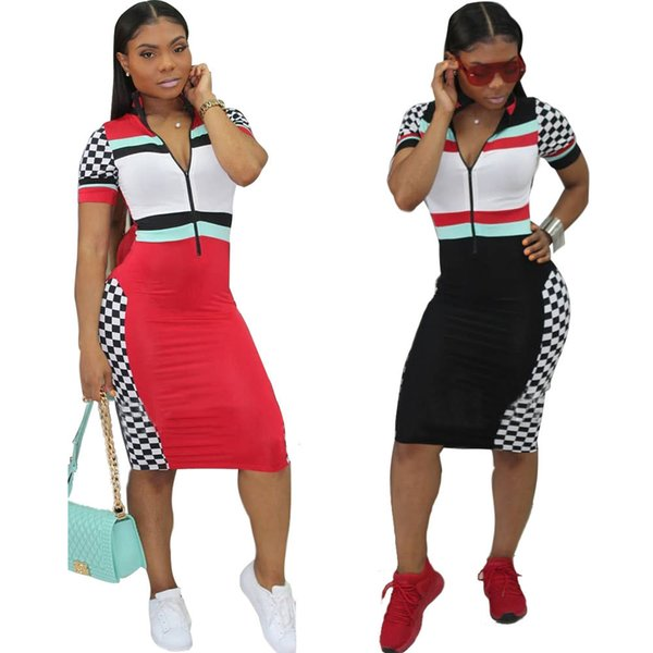 2018 Sexy Tight-fitting Striped Plaid Print Dress Women Plus Size Casual Midi Black White Bodycon Sexy Slim Dress WG0076