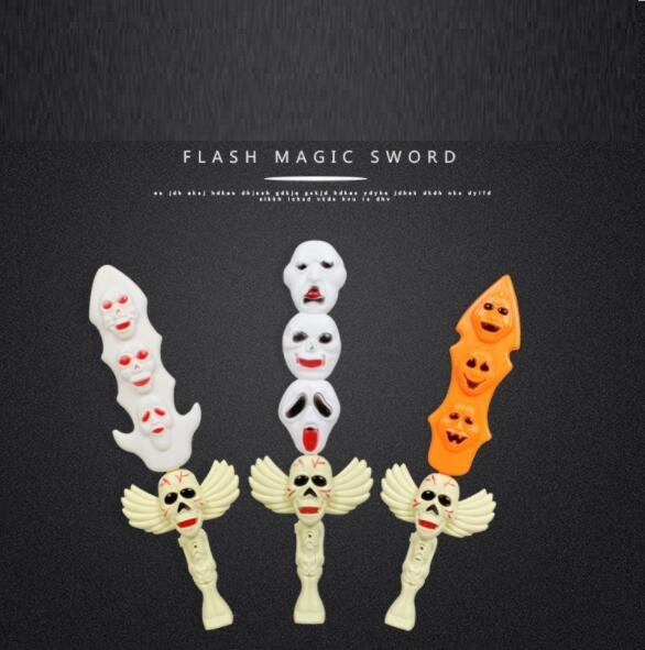 Halloween Glow Toys Stick Party Novelty Favors Props Supplies for Children Kids Playing (Ghost Sword) YH1389
