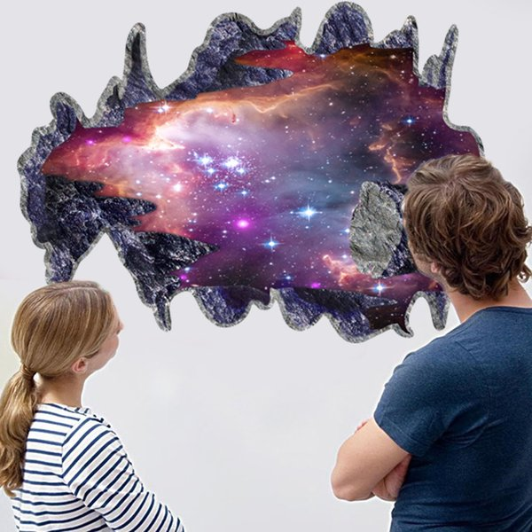 3D Space Galaxy Meteorites Wall Decals PVC Broken Wall Outer Space Wall Decor Sticker for Living Room Bedroom and Kids Room