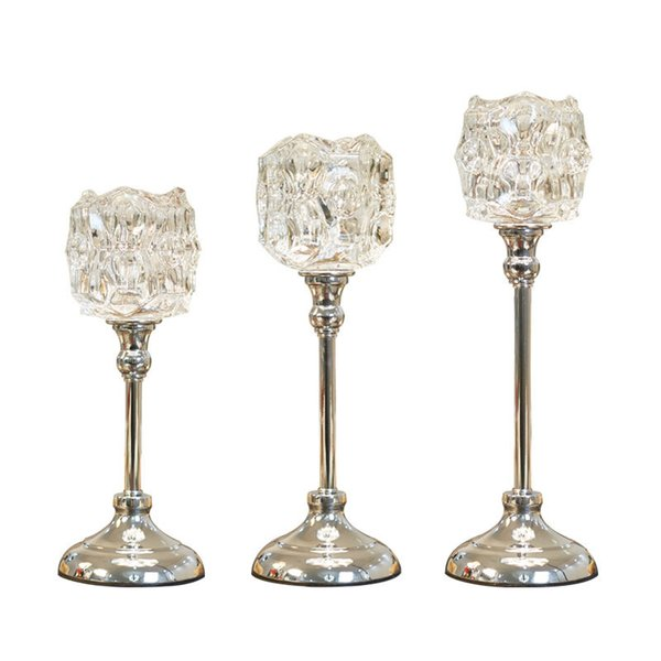 Silver Candle Holders Brief Glass Wedding Crystal Candle Stand Romantic Candlesticks Table Centerpiece For Home Decoration