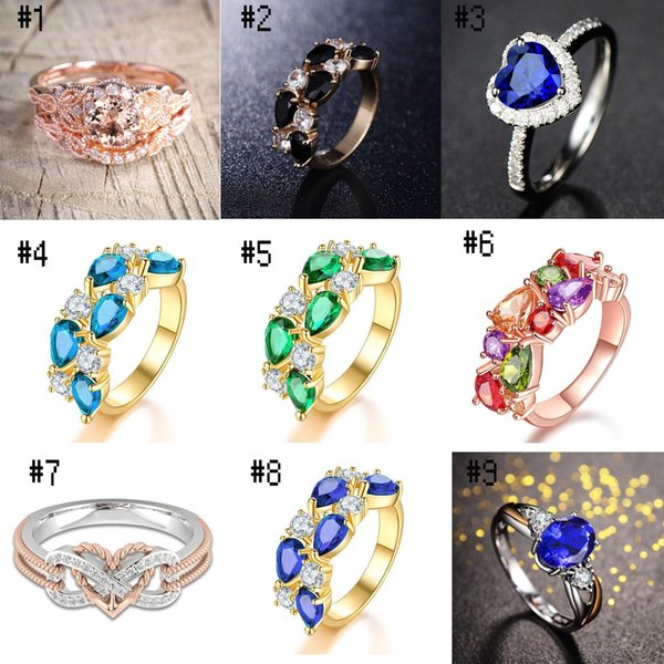 Marriage Wedding Diamond Gem Pearl Jewel Lady Female Ring Gift Jewelry Fashion Letters Heart Shape Gem 36 Color Wholesale and Retail