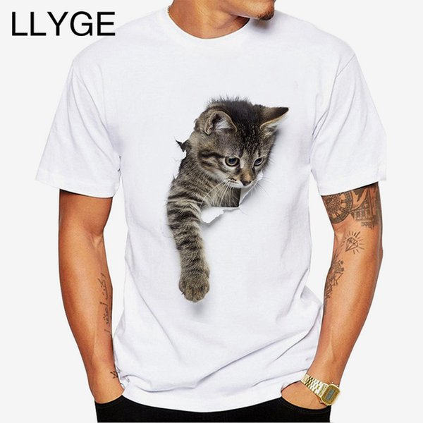 LLYGE Men Summer Fashion 3D Cute Cat T-shirt Print Animal O-neck Short Sleeve Tees Tops Plus Size Casual Men's T Shirt Clothing